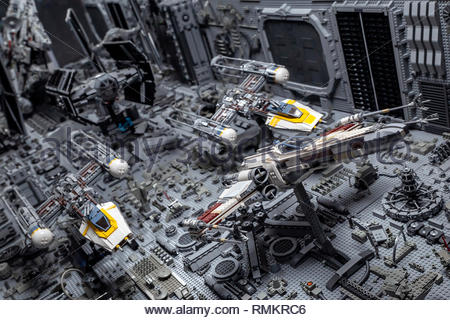 """LEGO STAR WARS exhibition - Pursuit in the trenches of the Death Star (episode 4 """"A New Hope"""") - Stock Photo"""