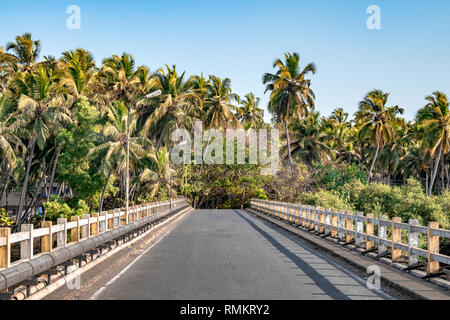 Beautifully painted guard rails of a narrow bridge in the Western Ghats of south India. - Stock Photo