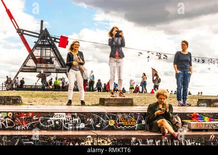 People at Prague Metronome, Prague Letna Park Former Place of Stalin's Monument, Czech Republic - Stock Photo