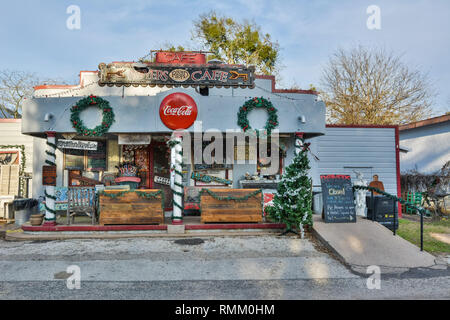 Round Top, Texas, United States of America - December 27, 2016. Exterior view of Royers Cafe in Round Top, TX. - Stock Photo
