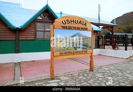 Wooden Signboard in front of the Railway Station, Ushuaia, Argentina - Stock Photo