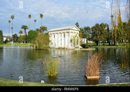 Los Angeles, California, United States of America - January 7, 2017. Tomb of philanthropist William A. Clark Jr., across Sylvan Lake at Hollywood Fore - Stock Photo
