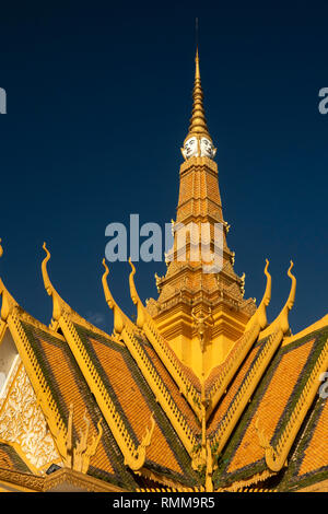 Cambodia, Phnom Penh, City Centre, Royal Palace, Throne Hall, detail of central spire with four faces - Stock Photo