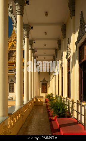 Cambodia, Phnom Penh, City Centre, Royal Palace, Throne Hall verandah - Stock Photo