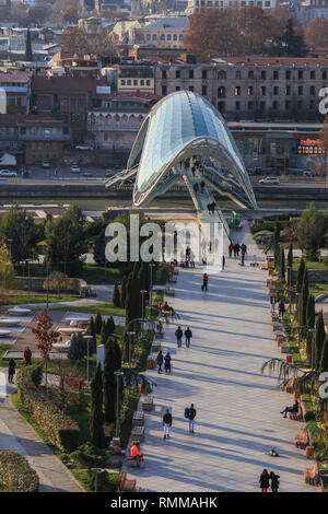 Panoramic view of Tbilisi city, old town and modern architecture. Tbilisi the capital of Georgia. - Stock Photo