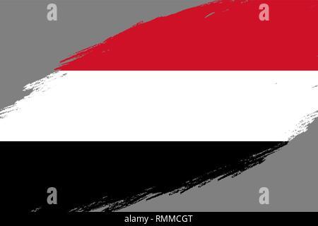 Brush stroke background with Grunge styled flag of Yemen - Stock Photo