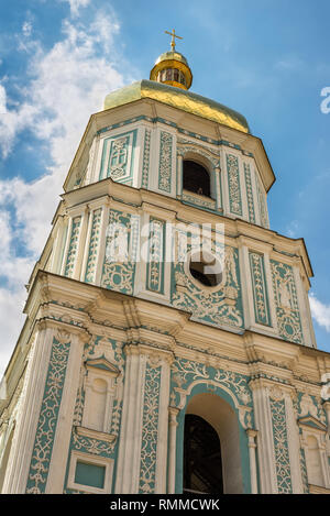 Kyiv, Ukraine - August 17, 2013: Close up view of Saint Sophia Cathedral Bell tower in Kyiv, Ukraine. Sophia Cathedral (Eastern Orthodox Cathedral, 11 - Stock Photo