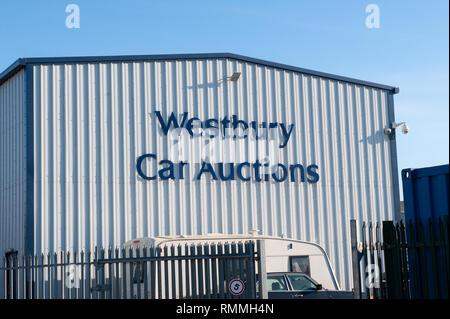 Industrial unit at Westbury Car Auctions, Wiltshire, UK - Stock Photo