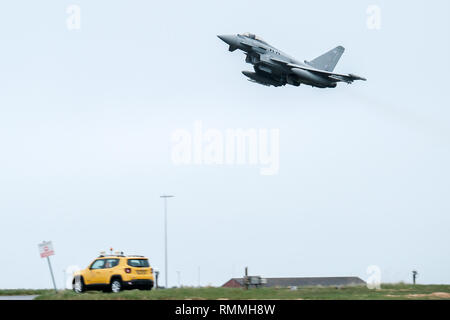 An RAF Tornado jet fighter taking off at RAF Lossiemouth base, Moray, Scotland - Stock Photo