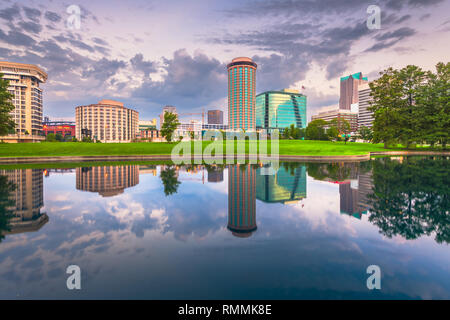 St. Louis, Missouri, USA cityscape at dawn with water reflections. - Stock Photo