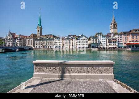 Switzerland, Canton Zürich, view of the Old Town of Zürich with River Limmat, the Wühre riverfront and St. Peter and Fraumünster Churches in the backg - Stock Photo