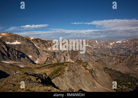 WY03723-00...WYOMING - View up the Rock Creek Valley to the Beartooth Mountains from the Beartooth Highway in the Shoshone National Forest. - Stock Photo