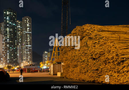 Bamboo used for building scaffolding, Hong Kong, China. - Stock Photo