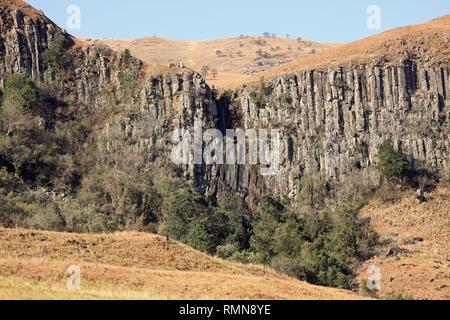 Basalt Columns in Drakensburg Mountains, Kwazulu Natal, South Africa - Stock Photo