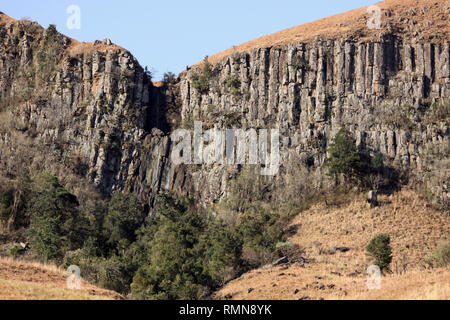 Basalt Columns in Drakensburg Mountains, Kwazulu Natal, South Africa - Stock Photo