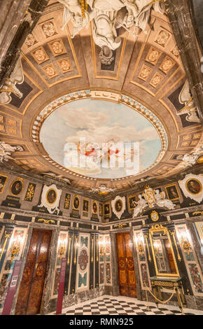 Ceiling plafond painting at Marble Room, Royal Castle in Warsaw, Poland - Stock Photo