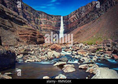 Hengifoss Waterfall in Iceland - Stock Photo