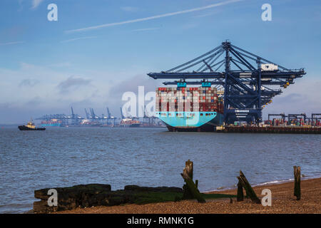 Large Ocean Going Maersk Shipping Container Ship Docked at Port of Felixstowe - Stock Photo