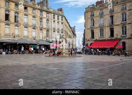 Bordeaux, France - September 9, 2018: Parliament Square or Place du Parlement . Historic square featuring an ornate fountain, cafes and restaurants in - Stock Photo