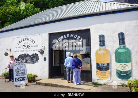 Entrance to Tobermory Distillery Visitor Centre and shop, Ledaig, Tobermory, Isle of Bute, Inner Hebrides, Argyll and Bute, Scotland, United Kingdom - Stock Photo