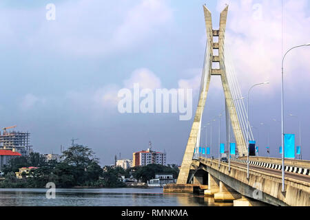 Lagos, Nigeria; Lekki-Ikoyi Bridge - Lagos Landmark - Infrastructure and Transportation - Stock Photo