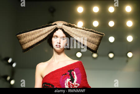 Models on the catwalk during the Matty Bovan Autumn/Winter 2019 London Fashion Week show at BFC Showspace. - Stock Photo