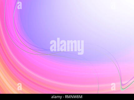 Abstract oval striped background in pink shades with blue backlight, covered with intersecting thin wavy light stripes - Stock Photo