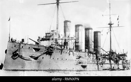 HMS Leviathan drake class armoured cruiser of the royal navy in 1901 - Stock Photo