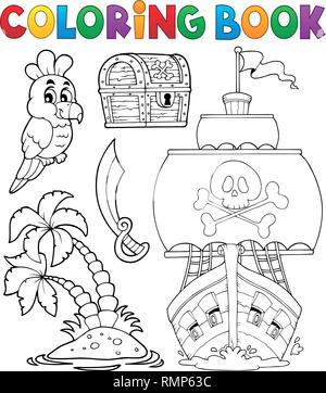 Coloring book pirate thematics 2 - eps10 vector illustration. - Stock Photo