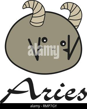 Bunny zodiac sign Aries in a cartoon style. Vector illustration on white background. With signed zodiac sign - Stock Photo