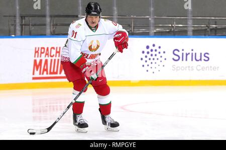 Sochi, Russia. 15th Feb, 2019. Belarus President Alexander Lukashenko, center, during a friendly ice hockey match with Russian President Vladimir Putin, #11, at the Shaiba Arena February 15, 2019 in Sochi, Russia. Credit: Planetpix/Alamy Live News - Stock Photo
