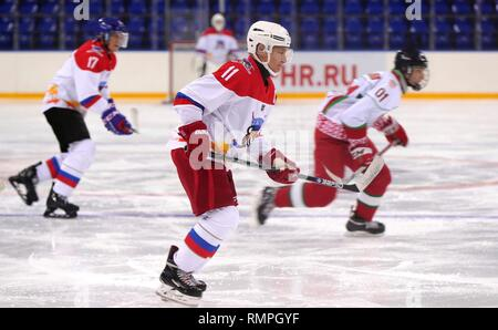 Sochi, Russia. 15th Feb, 2019. Russian President Vladimir Putin, #11, during a friendly ice hockey match with Belarus President Alexander Lukashenko at the Shaiba Arena February 15, 2019 in Sochi, Russia. Credit: Planetpix/Alamy Live News - Stock Photo