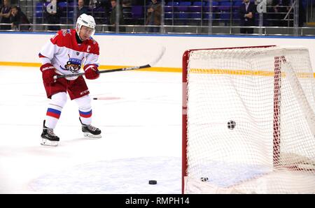 Sochi, Russia. 15th Feb, 2019. Russian President Vladimir Putin, #11, practices before playing in a friendly ice hockey match with Belarus President Alexander Lukashenko at the Shaiba Arena February 15, 2019 in Sochi, Russia. Credit: Planetpix/Alamy Live News - Stock Photo
