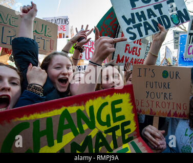 London, UK. 15th Feb, 2019. Protesters pose with placards Credit: Oliver Monk/Alamy Live News - Stock Photo