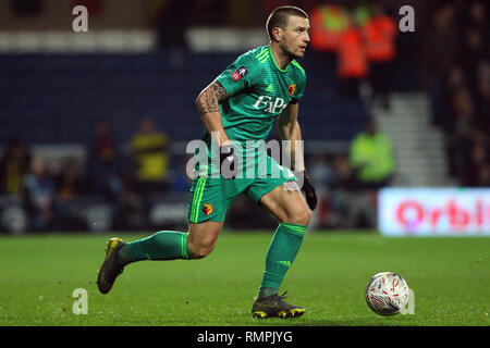 London, UK. 15th Feb, 2019. Daryl Janmat of Watford in action. The Emirates FA Cup, 5th round match, Queens Park Rangers v Watford at Loftus Road stadium in London on Friday 15th February 2019. this image may only be used for Editorial purposes. Editorial use only, license required for commercial use. No use in betting, games or a single club/league/player publications. pic by Steffan Bowen/Andrew Orchard sports photography/Alamy Live news Credit: Andrew Orchard sports photography/Alamy Live News - Stock Photo
