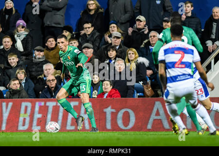 London, UK. 15th Feb, 2019. Craig Cathcart of Watford during the The FA Cup 5th Round match between Queens Park Rangers and Watford at the Loftus Road Stadium, London, England on 15 February 2019. Photo by Adamo Di Loreto. Editorial use only, license required for commercial use. No use in betting, games or a single club/league/player publications. Credit: UK Sports Pics Ltd/Alamy Live News - Stock Photo