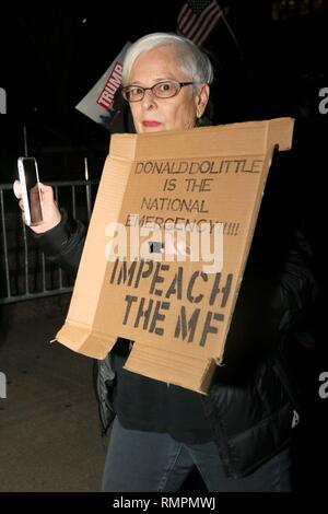 New York City, New York, USA. 15th Feb, 2019. US president Donald Trump declaration of a national emergency drew a coalition of activist protesters to Trump International Hotel and Tower at Columbus Circle on 15 February 2019. The protesters chanted that the only national emergency is Donald Trump. There were several arrests, when protesters ignored the NYPD calls to clear the street outside the hotel. Credit: G. Ronald Lopez/ZUMA Wire/Alamy Live News - Stock Photo