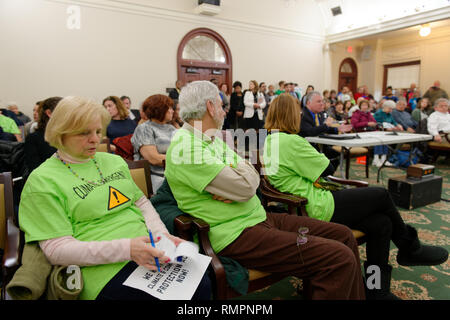 Mineola, New York, USA. 15th Feb, 2019. Activists wearing neon green Climate Emergency ! shirts sit in front row of audience during NYS Senate Public Hearing on Climate, Community & Protection Act, Bill S7253, sponsored by Sen. Kaminsky, Chair of Senate Standing Committee on Environmental Conservation. This 3rd public hearing on bill to fight climate change was on Long Island. Credit: Ann Parry/ZUMA Wire/Alamy Live News - Stock Photo