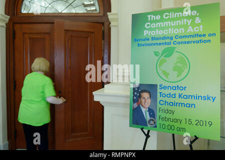 Mineola, New York, USA. 15th Feb, 2019. Activist wearing neon green Climate Emergency shirt re-enters chamber during NYS Senate Public Hearing on Climate, Community & Protection Act, Bill S7253, Sign next to entrance give info about the bill sponsored by Sen. Todd Kaminsky, Chair of Senate Standing Committee on Environmental Conservation. This 3rd public hearing on bill to fight climate change was on Long Island. Credit: Ann Parry/ZUMA Wire/Alamy Live News - Stock Photo