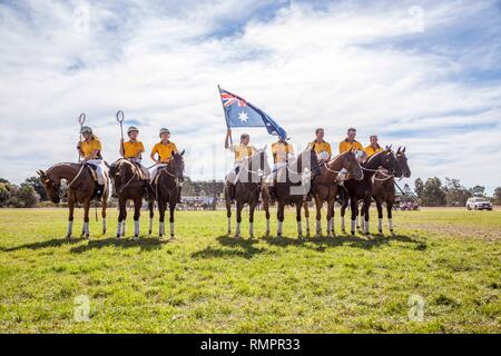 Australia V's New Zealand Exhibition Match - PoloCrosse - Ballarat PoloCrosse Club Annual Tournament - 16 February 2019 - Ballarat, Victoria, Australia.The Australian and New Zealand team line up for the national Anthem.Austalia won 29 goals to 15.Both teams will square of again the following day for another friendly match before Both teams head to the Adina Polocrosse World Cup 2019 held in Queensland Australia from 22nd to the 28th April 2019. Credit: brett keating/Alamy Live News - Stock Photo