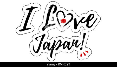 I love Japan Illustration with heart - Stock Photo