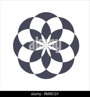 Monochrome elegant circular pattern in black and white. Circular mathematical ornament. A vector circular pattern from the crossed circles. Mandala. - Stock Photo