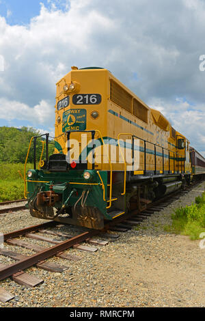 Conway Scenic Railroad EMD GP35 No. 216 in Crawford Notch Station in White Mountains, New Hampshire, USA. - Stock Photo