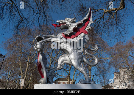 City of London dragon King's Reach marking the boundary between the City and Westminster London England UK - Stock Photo