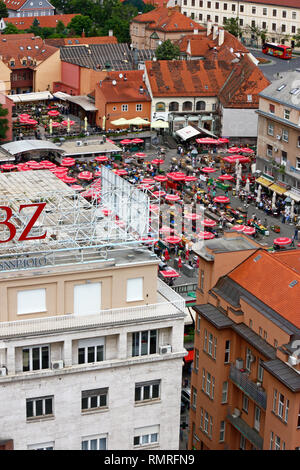 ZAGREB, CROATIA – JUNE 12, 2013: Aerial view of Dolac market with parasols in Zagreb, Croatia - Stock Photo