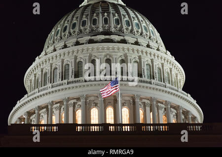 The United States Capitol at night. Capitol USA Building. United States Congress. Dome close-up.  Washington DC. - Stock Photo