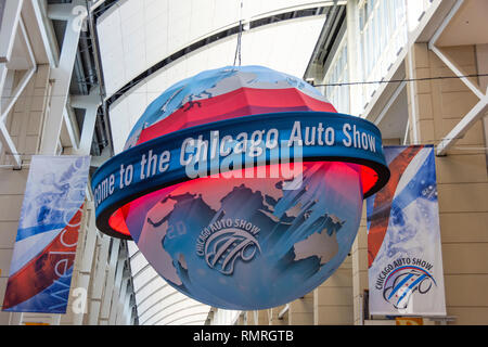 Chicago, IL, USA - February 7, 2019: Shot of the Welcome to the Chicago Auto Show ball. - Stock Photo