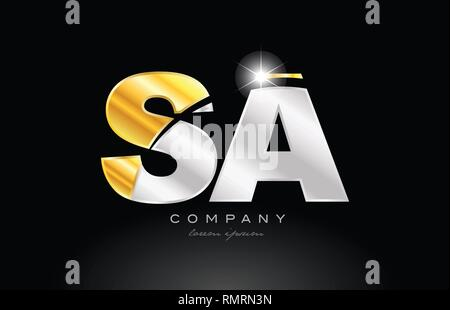 combination letter sa s a alphabet logo icon design with gold silver grey metal on black background suitable for a company or business - Stock Photo