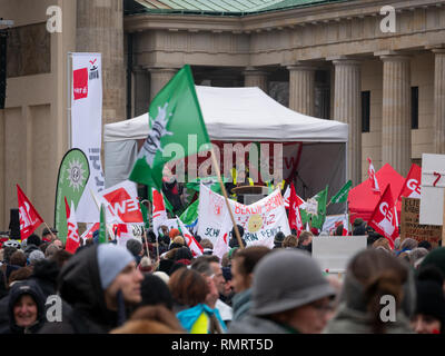 BERLIN, GERMANY - FEBRUARY 13, 2019: Demonstration of German Trade Unions Verdi, GEW, GdP At Brandenburger Tor In Berlin, Germany - Stock Photo