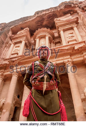 Jordanian Army Soldier in front of The Treasury, Al-Khazneh, Petra, Ma'an Governorate, Jordan (MR) - Stock Photo